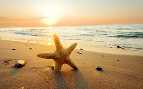 nature, sky, clouds, sunset, summer, beach, sea