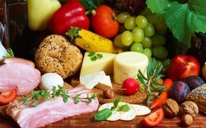 стол, овощи, фрукты, орехи, сыр, помидоры, огурцы, виноград, сливы, морковь, яблоко, зелень, ветчина, хлеб, булки