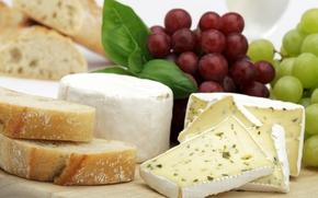 сыр, виноград, хлеб, доска
