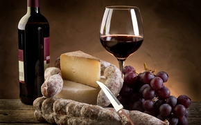 wine, red, cheese, Parmesan, sausage, grapes, goblet, bottle, knife