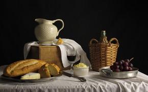 натюрморт, хлеб, масло, сыр, виноград, кувшин, вино