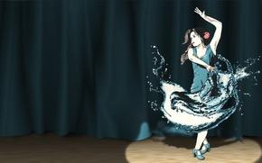 танцовщица, сцена, прожектор