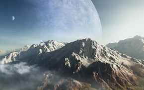 Art, Mountains, planet, peak, ridge, clouds, height