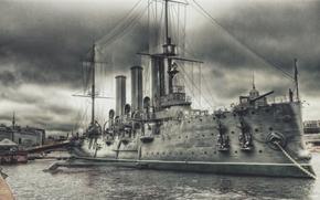 Bronepalubny cruiser, Aurora, incrociatore, nave, militare, fiume, ormeggio, disegno