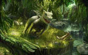 Art, dragon, Dragon, squirrel, fun, forest, Trees