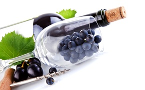 grapes, goblet, bottle, cork, corkscrew, wine, leaves, macro