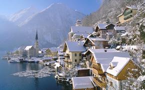 Austria, holstat, citt, paese, inverno, casa, Montagne, acqua, ghiaccio, derevya, ramo, neve