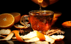 cup, teapot, drink, peel, oranges, star anise, cinnamon