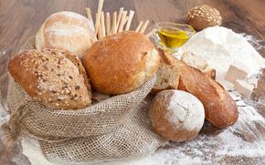 pane, intorno, filone, borsa, farina, olio