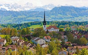 switzerland, Mountains, church, building, home, Trees, panorama