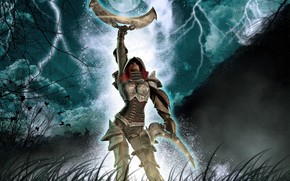 Art, girl, weapon, moon, night, Trees, Armor, lightning