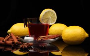 mug, saucer, tea, sugar, drink, cinnamon, star anise, lemons, table, reflection