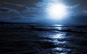 природа, ночь, луна, море