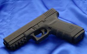 Glock, pistola, arma, carta da parati, tela, Blu, Austria