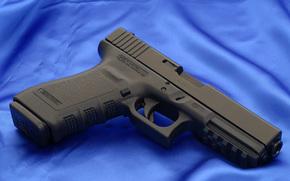 Glock, pistola, arma, tronco, carta da parati, Austria, tela, Blu