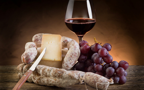 goblet, wine, red, grapes, bunch, cheese, hunk, knife, salami