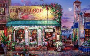 Картина, вечер, луна, набережная, ресторан, кафе, вывеска, столики, люди, мостовая, цветы, скамейка, вода, яхты