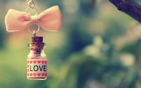 бутылочка, любовь, сердечки, бантик, розовый, цепочка, ветка