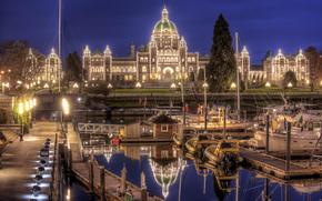 Victoria, Canada, parliament, wharf, night city, Yacht