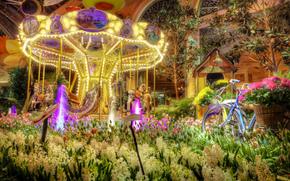 Las Vegas, hotel, rotonda, Flores, jacintos, Tulipanes, bicicleta