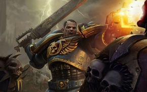 Space Marines, chaos, rage, Saw, lightning, Art, Captain Titus