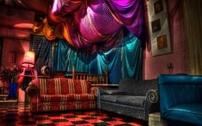 interior, projeto, estilo, sala, mobilirio, raznotsvetie, brilho, colchas, roxo, azul, cores saturadas, Sofs, cadeira, cho quadriculado
