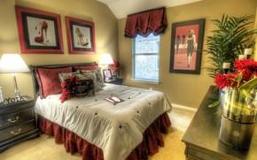интерьер, дизайн, стиль, комната, мебель, кровать, подушки, бордовый цвет, картина, туфли, модель, мода