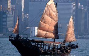 лодка, рыбалов, паруса