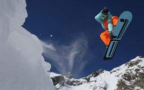 Прыжок, снег, сноуборд