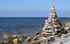 sea, coast, coast, stones, pebble, fortress, pyramid, horizon, distance, sky