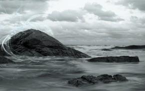 волны, скалы, небо, природа