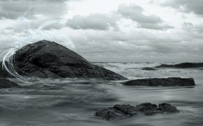 wave, rock, sky, nature