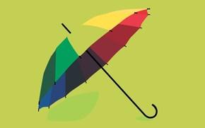минимализм, зонтик, цветной, желтый, зеленый, красный