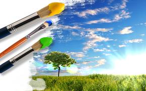twrczy, Farby, Pdzel, trawa, zielenina, drzewo, niebo, soce, chmury