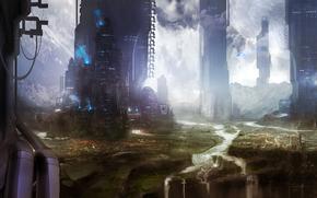 Sztuka, budynek, Wybudowany, wodospad, Gry, planeta