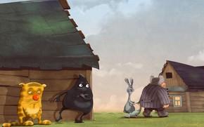 Animals, muzhik, village