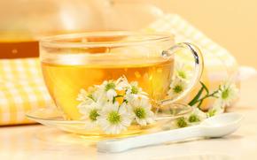 spoon, mug, saucer, tea, drink, Flowers, napkin, table