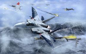 арт, самолеты, истребители, в небе, полет, битва, огонь, горы, снег