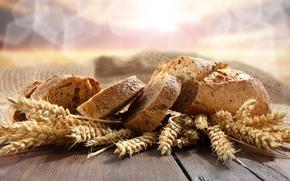 хлеб, колосья, стол, боке, ломти