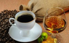 cup, saucer, goblet, coffee, Brandy, grain, apples