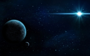Arte, Espacio, Planeta, estrella, Estrella, satlite