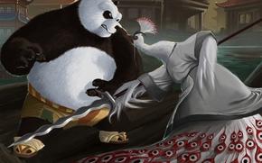 Art, panda, Peacock, bird, Asia, rage, spear, weapon