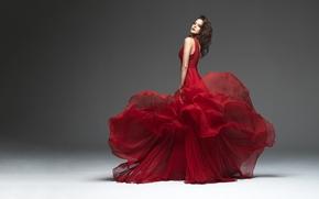 ragazza, modello, vestire, rosso, grigio