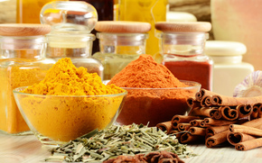 table, spices, seasoning, Spices, cinnamon, curry, star anise, cans