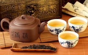 tea, kettle, characters, welding, cup, mat, fan, Casket, Tea Party
