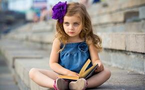 девочка, книга, настроение