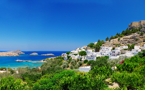 Greece, fortress, coast, home, Trees, nature