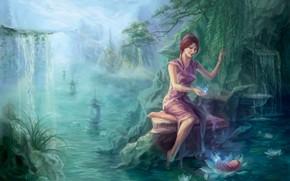 Arte, ragazza, foresta, acqua, stagno, fiume, piccolo fiume, cascata, loto, salice, bambino, bambino, magia, Asia, Rocks