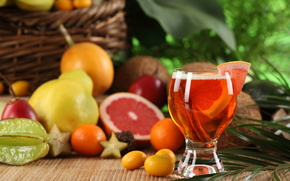 table, glass, juice, cinnamon, fruit, grapefruit, tangerines, pears, Coconuts, basket