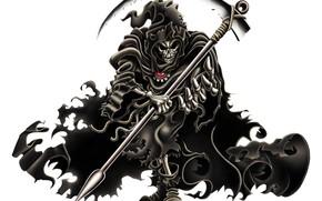 Смерть, шаг, коса, смерть с косой, черный, скелет, череп, мантия, плащ